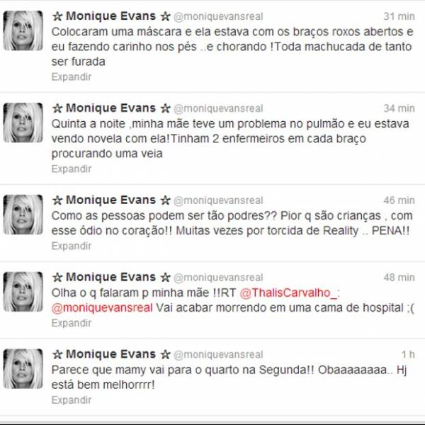Monique Evans fica indignada com comentário de internauta sobre sua mãe