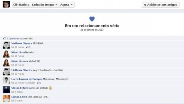 Olin Batista troca status em rede social para