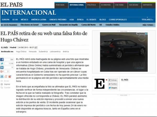 Jornal espanhol paralisa distribuição por foto falsa de Chávez entubado