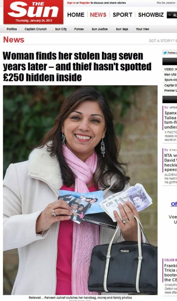 Mulher recupera bolsa que tinha sido roubada havia 7 anos no Reino Unido