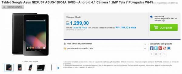 Nexus 7 começa a ser vendido no Brasil, mas importar ainda é mais vantagem