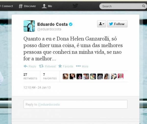 Sertanejo Eduardo Costa nega que será pai e se declara para Ganzarolli