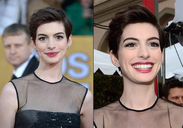 Veja como fazer o make e o penteado que Anne Hathaway usou no SAG
