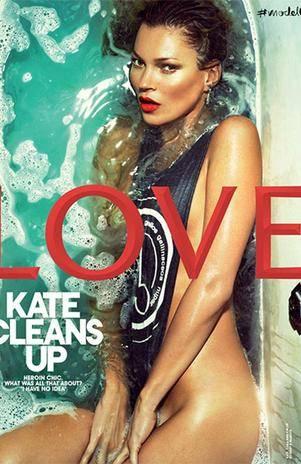 Kate Moss posa seminua em banheira para revista