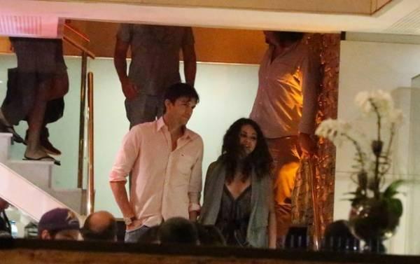 Ashton Kutcher e Mila Kunis jantam com Luciano Huck no Rio