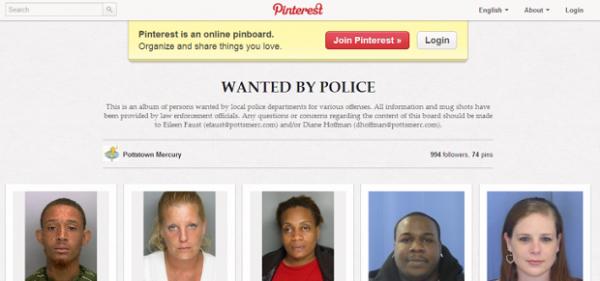 Polícia americana posta fotos no Pinterest para encontrar criminosos