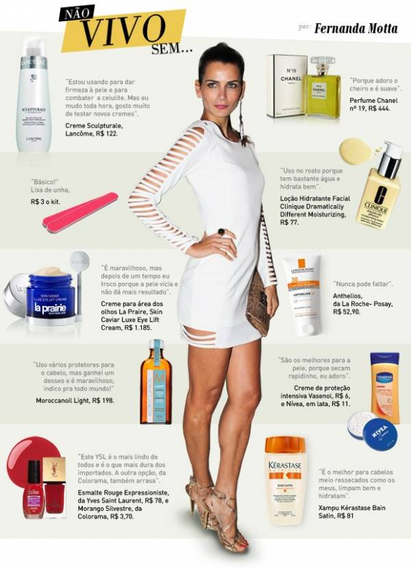 Conheça os dez produtos essenciais da nécessaire de Fernanda Motta