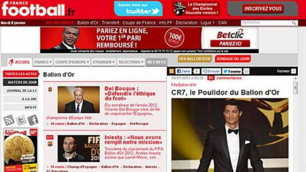 Cristiano Ronaldo é chamado de â??rei dos perdedoresâ?? pela revista France Football