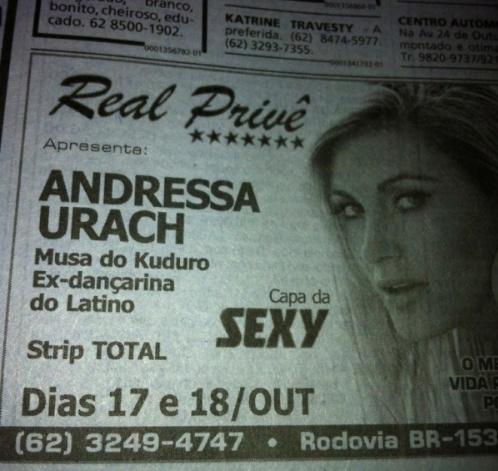 Boate volta a anunciar strip de Andressa Urach