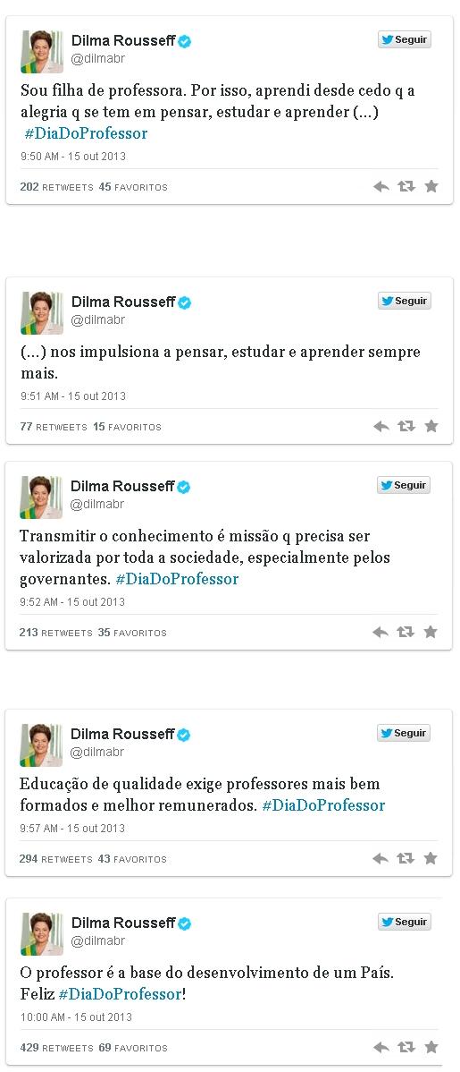Dilma defende no twitter melhores salários para todos os professores