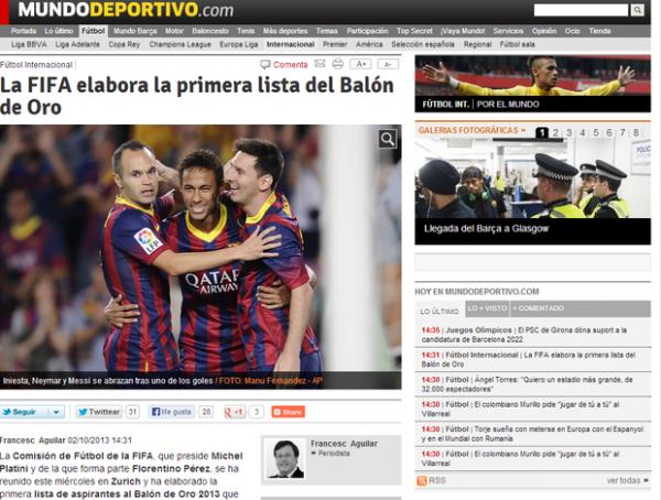 Fifa faz lista inicial para Bola de Ouro com Neymar e Dani Alves, diz jornal