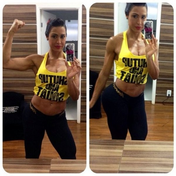 Gracyanne Barbosa mostra bíceps e empina bumbum