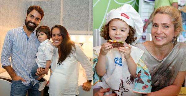 Ricardo Pereira e Letícia Spiller levam os filhos a evento de moda infantil