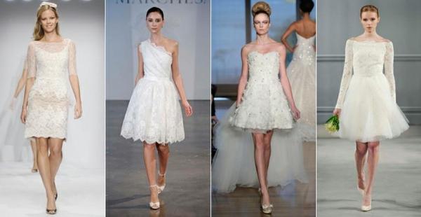 Vestido de noiva curto também é glamouroso. Saiba em que ocasião ele é permitido