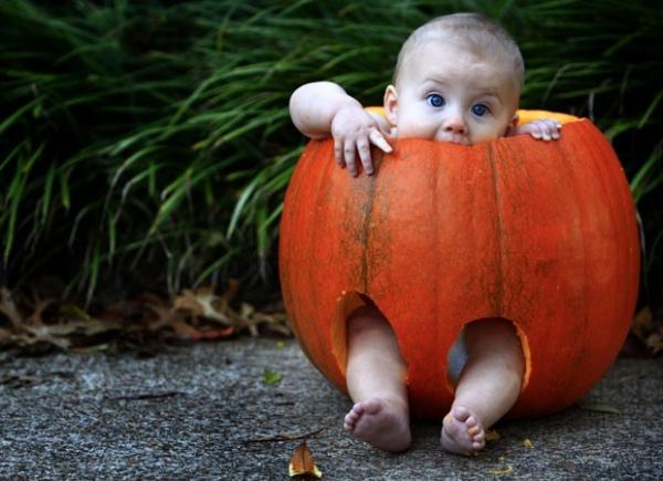 Bebê ?transformado? em abóbora come fantasia de Halloween nos EUA