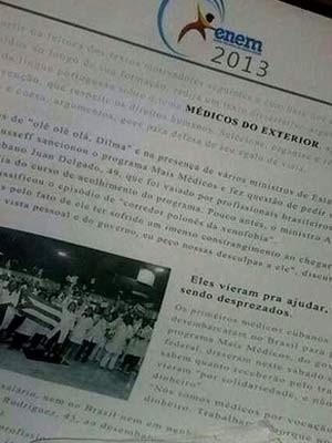 Fotos que circulam pelo Whatsapp mostram suposta prova do Enem 2013; Inep diz que são falsas