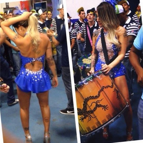 Dani Bolina usa look curtinho e toca surdo em ensaio de escola de samba