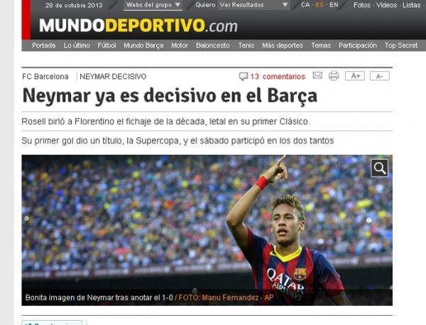 Jornal catalão afirma que Neymar já  é decisivo: