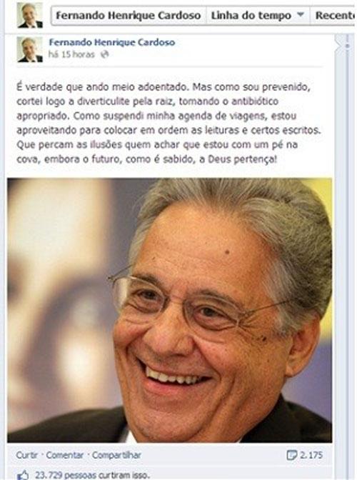 No Facebook, Fernando Henrique diz que cortou doença