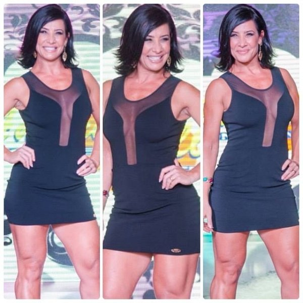 Scheila Carvalho participa de desfile e exibe decote e pernas musculosas