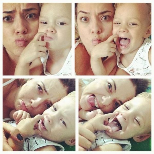 Mãe do filho de Neymar posta coleção de caretas com o menino: