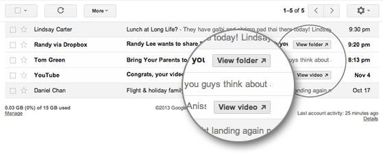 Gmail adiciona bots de atalho para YouTube, Vimeo, Dropbox e Docs