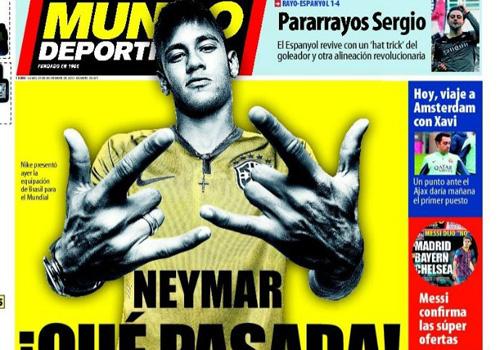 Neymar é capa na Espanha já com nova camisa da Seleção