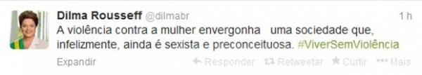 Dilma lembra o Dia Internacional da Não Violência contra a Mulher