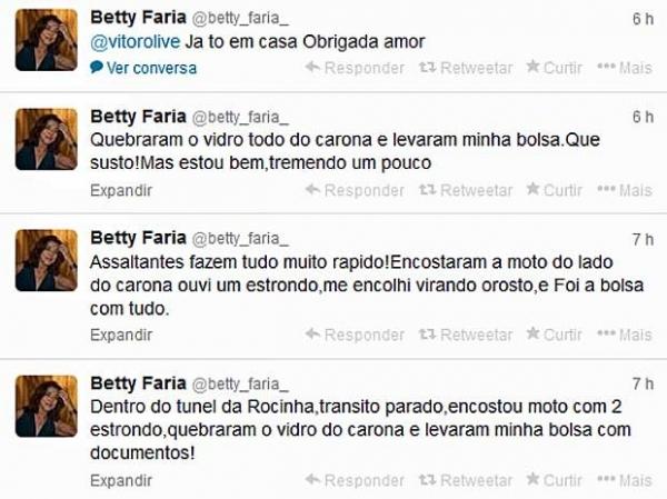 Atriz Betty Faria é assaltada durante congestionamento no Rio