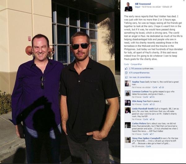 Fotos mostram Paul Walker horas antes de morrer em grave acidente de carro na Califórnia