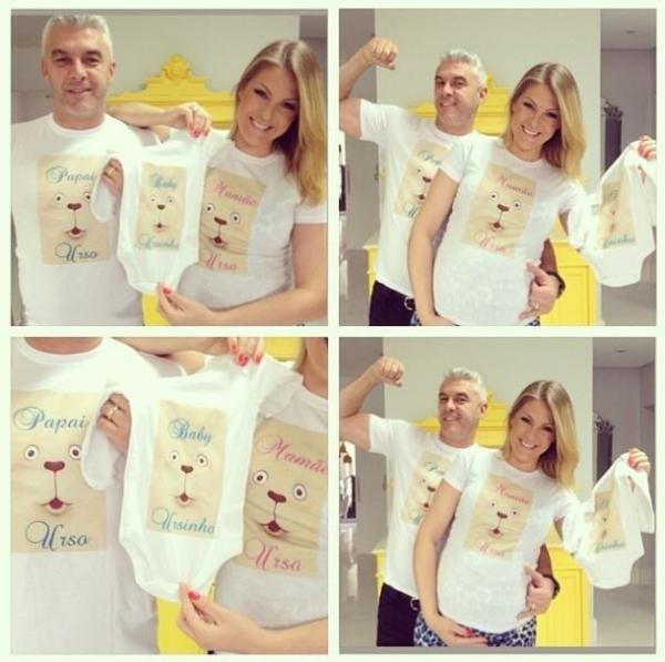 Grávida, Ana Hickmann mostra camisetas em homenagem ao filho