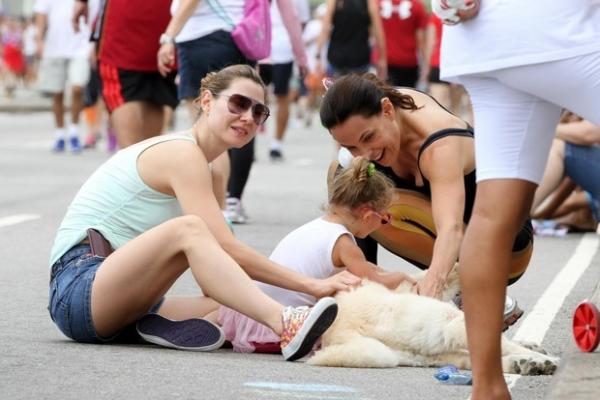 Filhos de Lavínia Vlasak se divertem com o cachorro de Carolina Ferraz