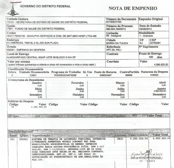 Governo do DF superfatura em R$ 3,5 milhões aparelho de fisioterapia