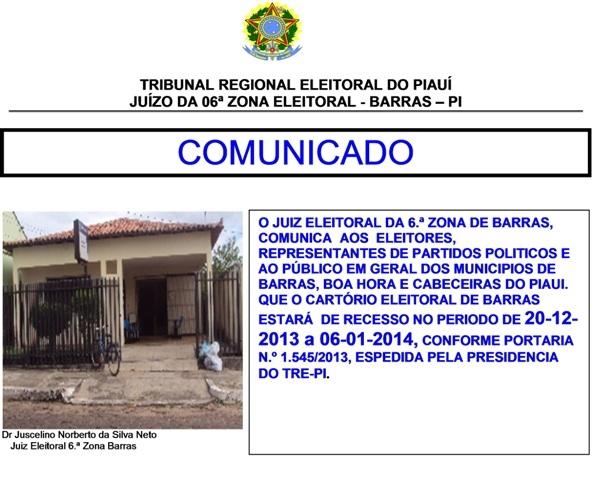 Cartório Eleitoral da 6ª Zona entrará de recesso a partir de amanhã (20) - Imagem 1