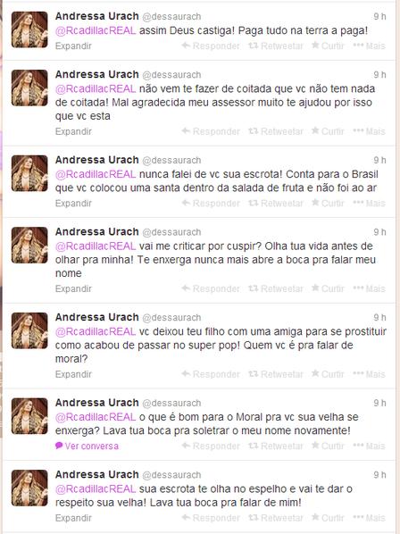 Andressa Urach ataca Rita Cadillac no Twitter após críticas