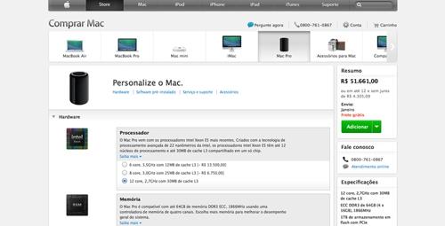 Mac Pro 2013 pode chegar a um custo de R$ 51 mil na Apple Store brasileira