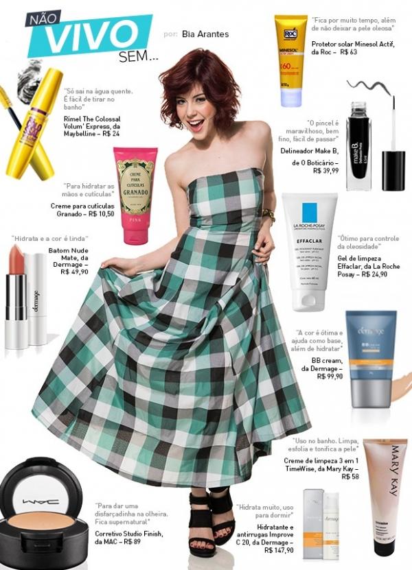Maquiagem, hidratante, protetor... Veja os preferidos de Bia Arantes