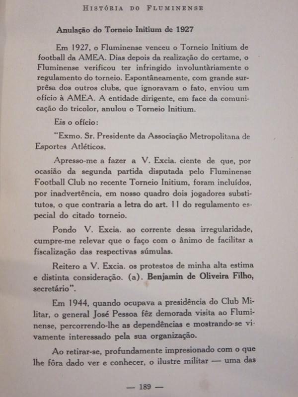 Em 1927, Flu devolveu título por escalar atacante de forma irregular