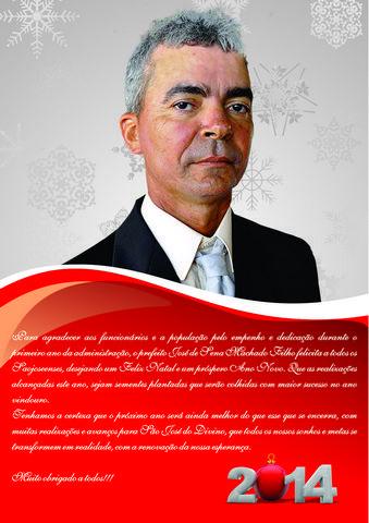 Prefeito Zé Sena externa mensagem de felicitações aos funcionários e toda população Saojoseense