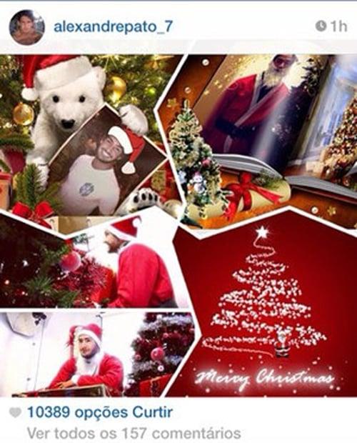 Vestido de Papai Noel, Alexandre Pato divide seguidores em rede social