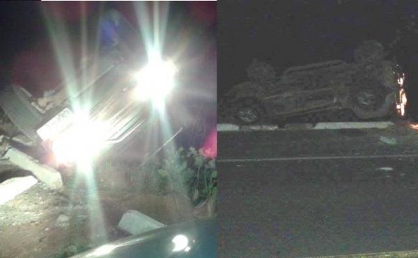 Carro do SENAR capota na BR-343 durante a madrugada de natal em Campo Maior