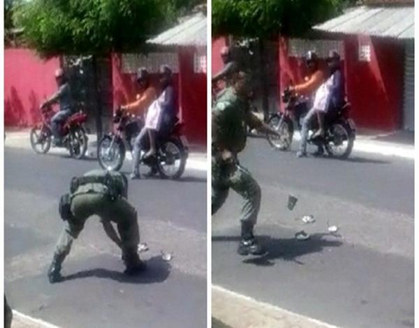 Policial corta chinelos de menor e o persegue no bairro Piauí; Veja vídeos