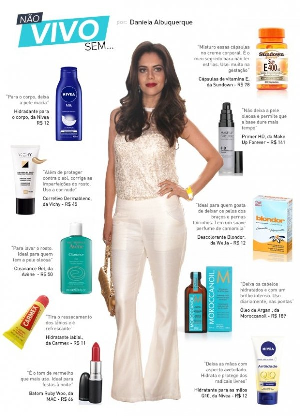De blondor a primer: veja os produtos preferidos de Daniela Albuquerque