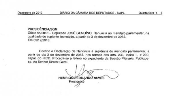Diário Oficial da Câmara publica renúncia de José Genoino