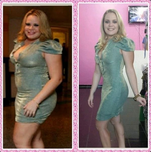 Paulinha mostra antes e depois com o mesmo vestido e menos 35 quilos