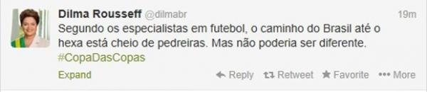 Dilma comenta futebol no Twitter e vê