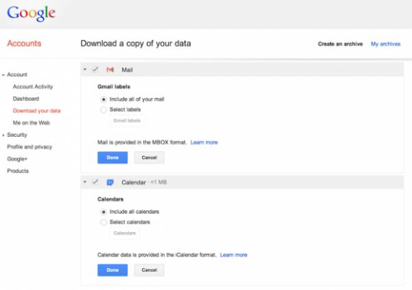 Google vai permitir que dados de Gmail e Calendar sejam baixados