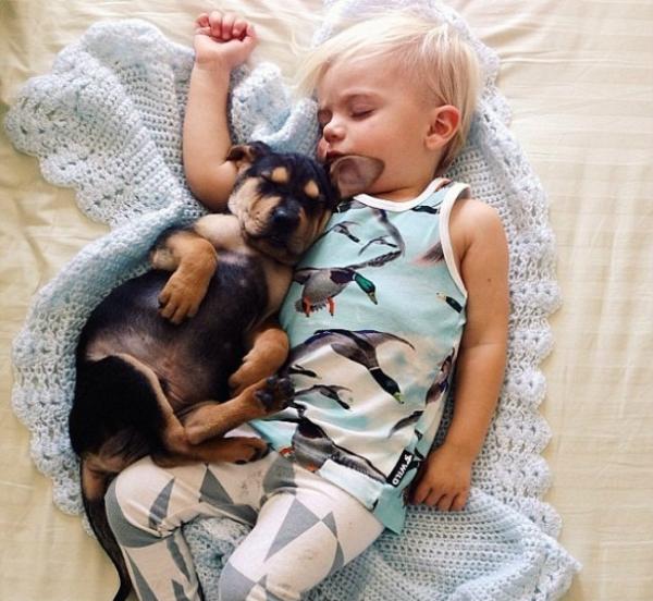 Mãe comove na web com novas fotos de garotinho que só dorme com cão