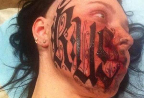 Artista cria nova polêmica ao tatuar seu nome no rosto da namorada