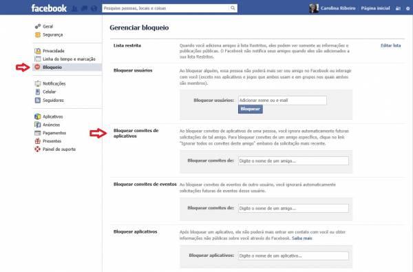 Como bloquear convites de aplicativos de um usuário específico no Facebook